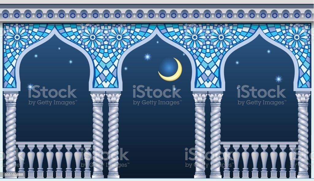 Balcony of the fairytale palace vector art illustration