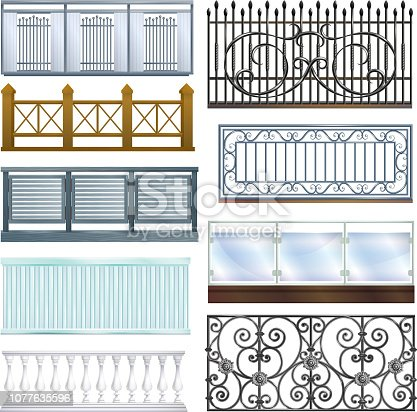 Balcony railing vector vintage metal steel fence balconied decoration architecture design illustration set of classical handrail balustrade construction isolated on white background.