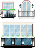 Balcony vector vintage balconied railing windows facade wall of building illustration set of beautiful architecture decor window-pane facade isolated on white background.