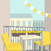 Balcony with chairs, table and flowers. Summer in the city.Vector illustration.