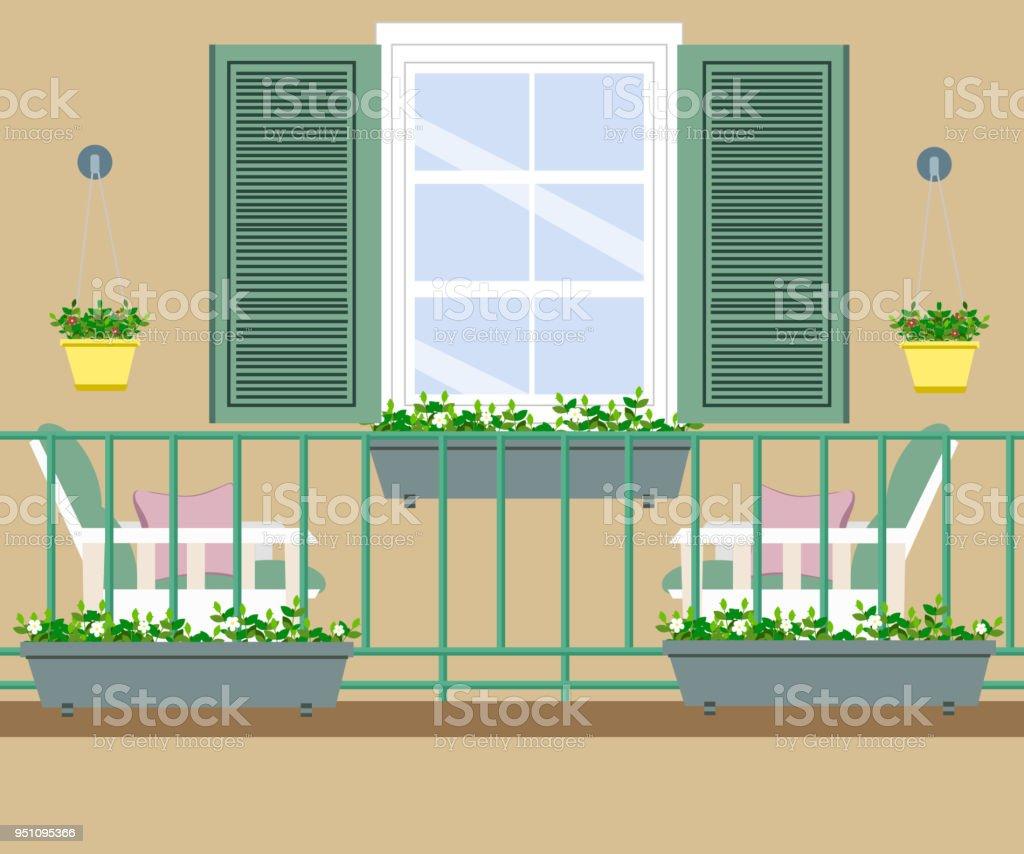 Balkon Mit Mobeln Und Blumentopfe Stock Vektor Art Und Mehr Bilder