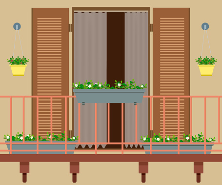 balcony with furniture and flowerpots