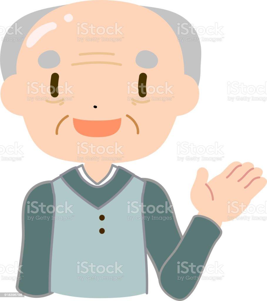 Bald and gentle old man guide vector art illustration