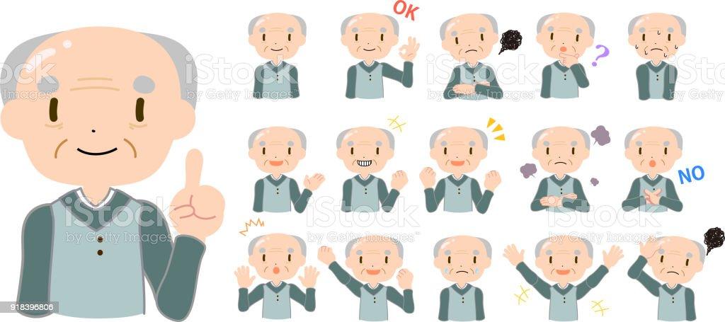 Bald and gentle old man set vector art illustration