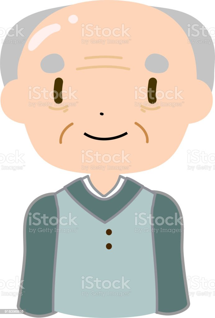 Bald and gentle old man stand vector art illustration