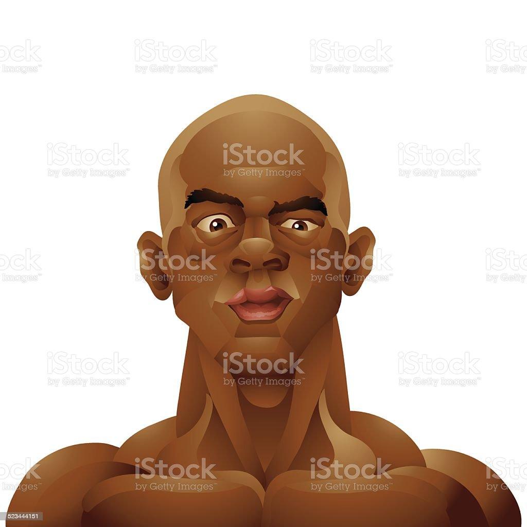 Bald black man portrait isolated vector art illustration