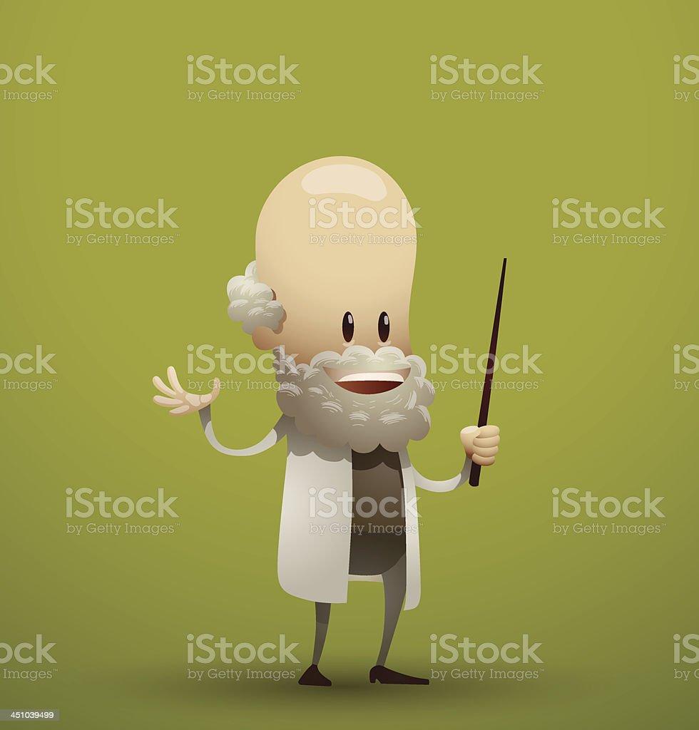 Bald cartoon scientist royalty-free stock vector art