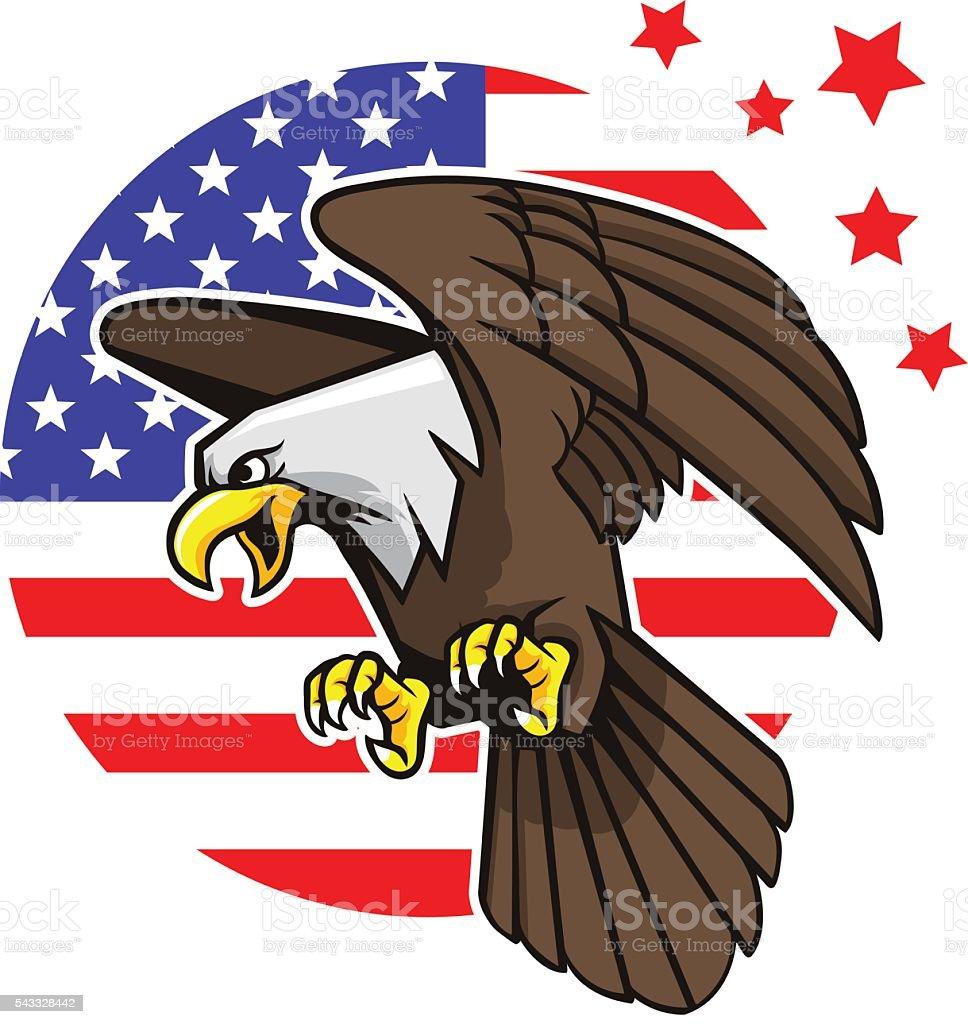 Bald Eagle And Star Strips Background vector art illustration
