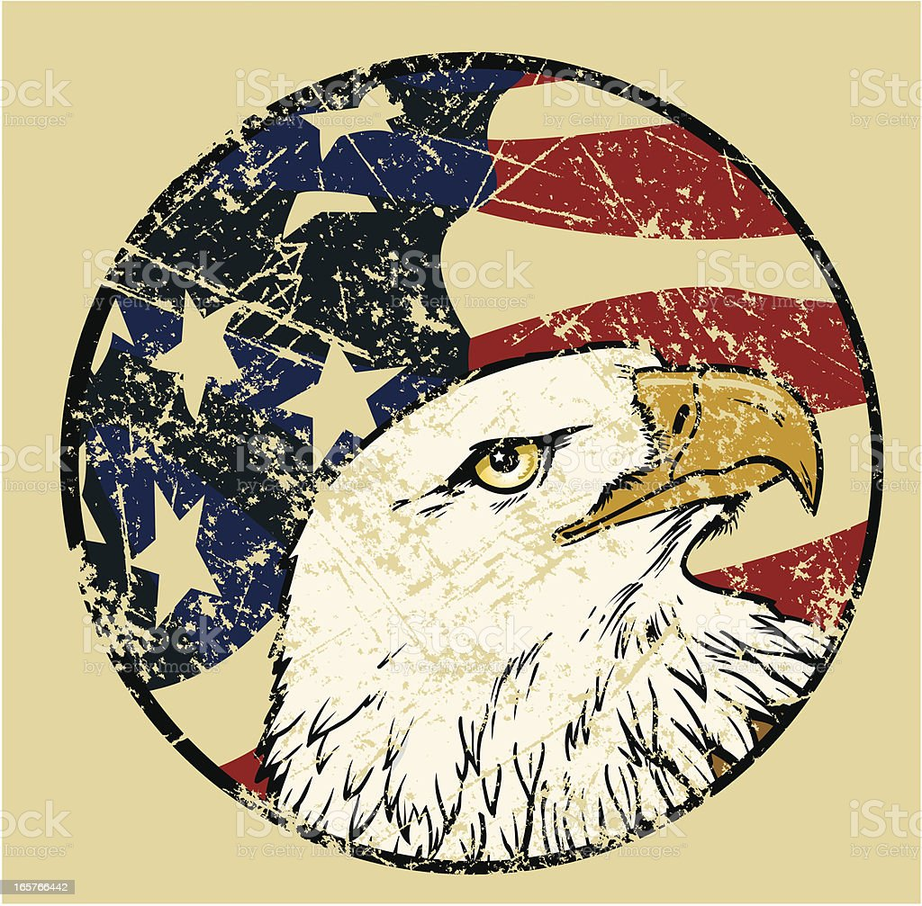 Bald Eagle Bird with American Flag Weathered USA Background vector art illustration