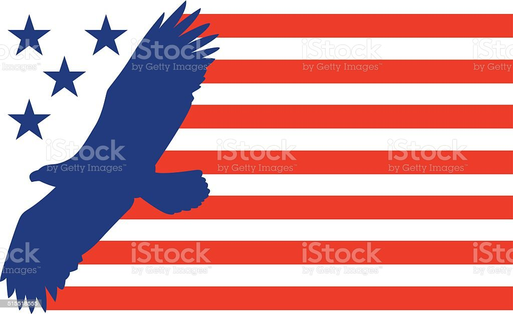 Bald Eagle Flag vector art illustration