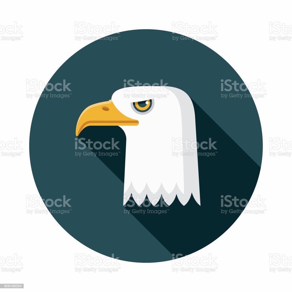 Bald Eagle Flat Design USA Icon with Side Shadow