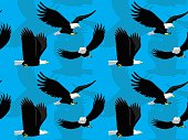 Bald Eagle Flying Cartoon Seamless Wallpaper