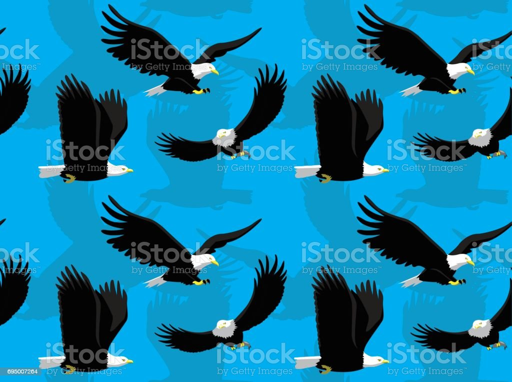 Bald Eagle Flying Cartoon Seamless Wallpaper vector art illustration