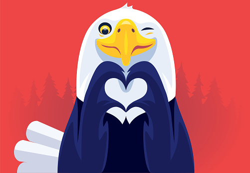 bald eagle gesturing heart shape and winking