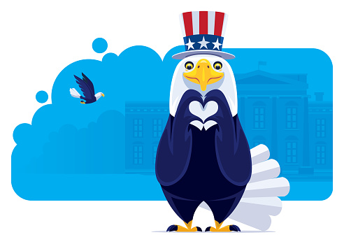 USA bald eagle gesturing heart shape