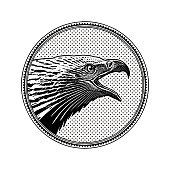 Vector engraving of a Bald Eagle head in circle frame