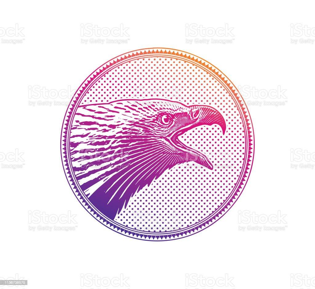 Bald Eagle head in circle frame vector art illustration