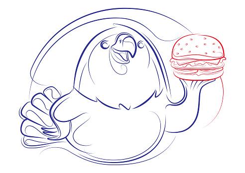 bald eagle holding hamburger lines drawing