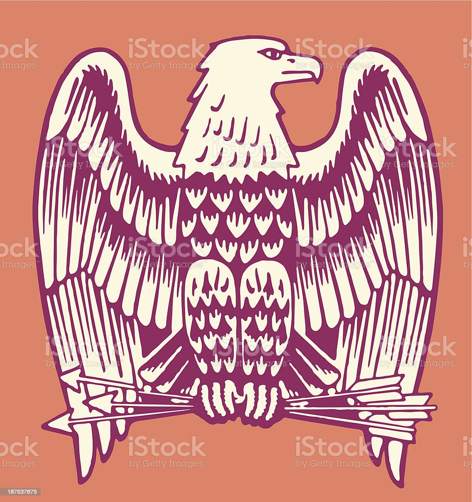 Bald Eagle Holding Three Arrows vector art illustration
