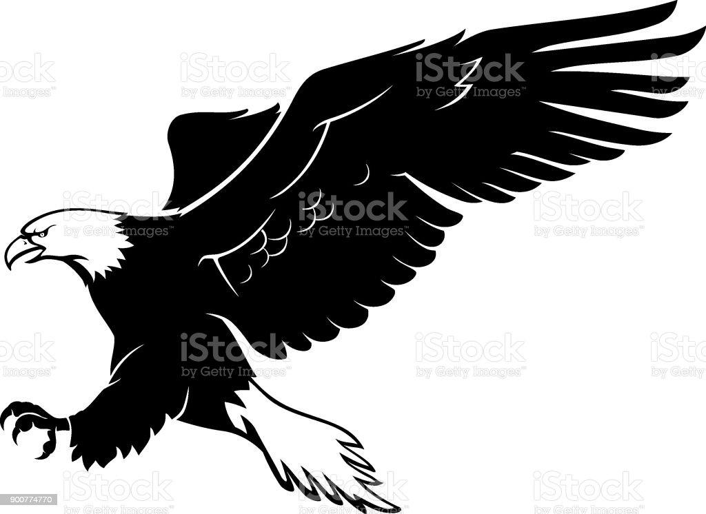 Bald Eagle Landing vector art illustration