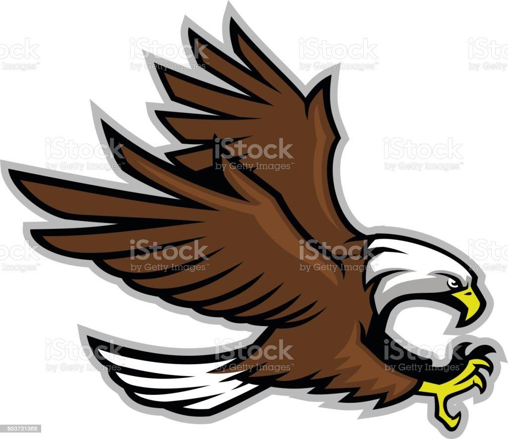 bald eagle mascot vector art illustration