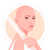 A bald girl holds a sword in her hand. Portrait of a girl with guns on the background of space and starry sky. Fencing. Vector flat illustration