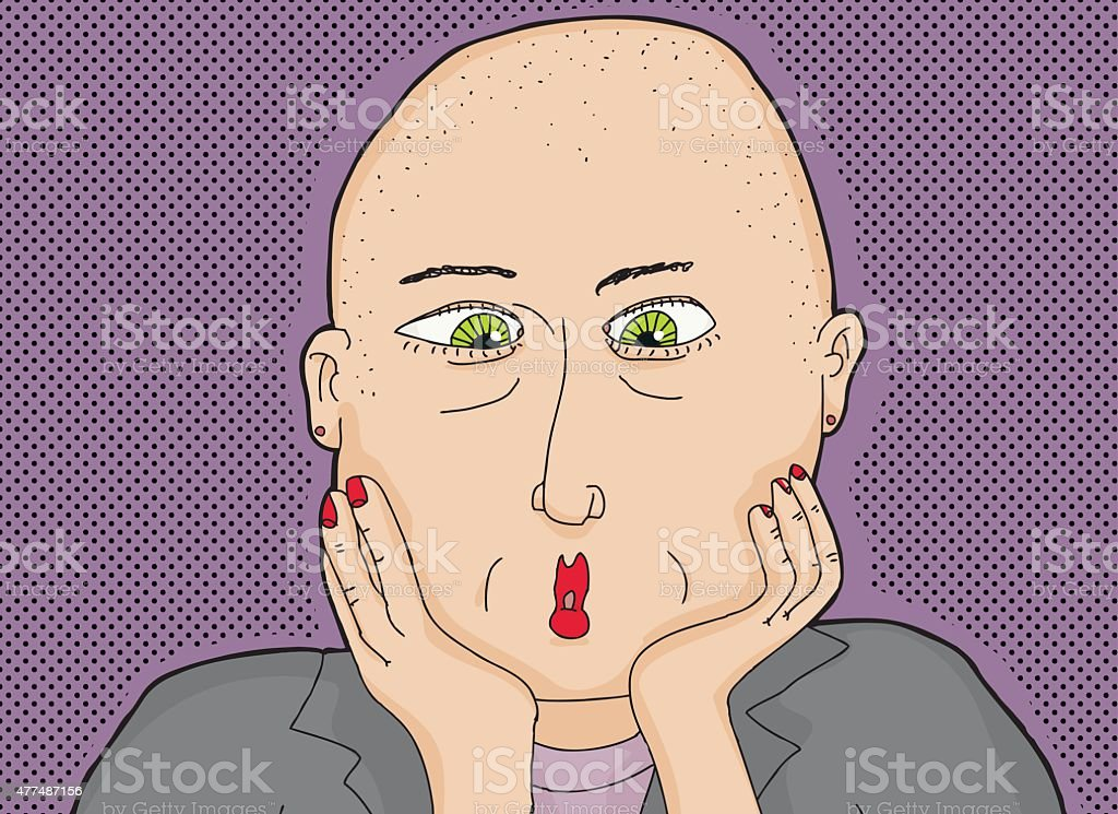 Bald Lady with Green Eyes vector art illustration