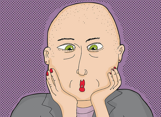 stockillustraties, clipart, cartoons en iconen met bald lady with green eyes - kaal geschoren hoofd