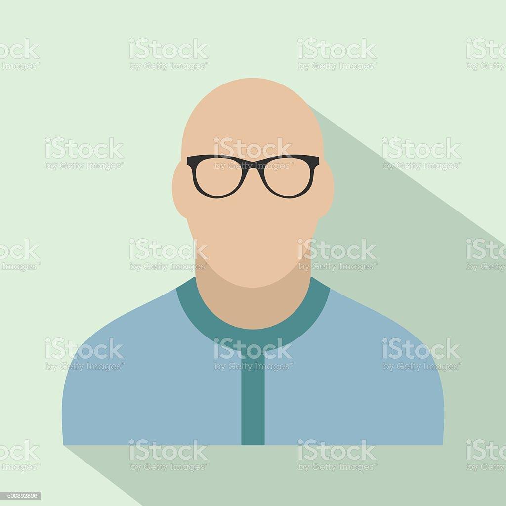 Bald man avatar icon vector art illustration
