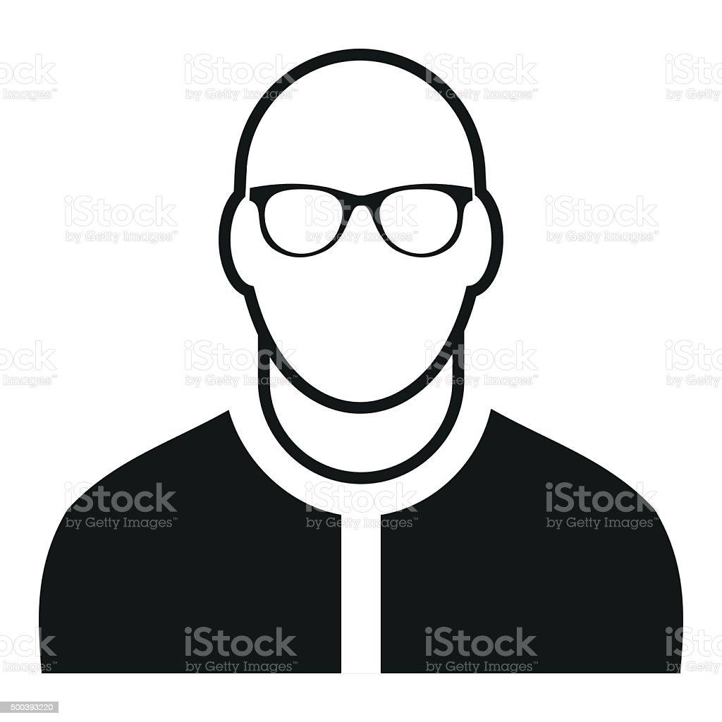 Bald man avatar simple icon vector art illustration