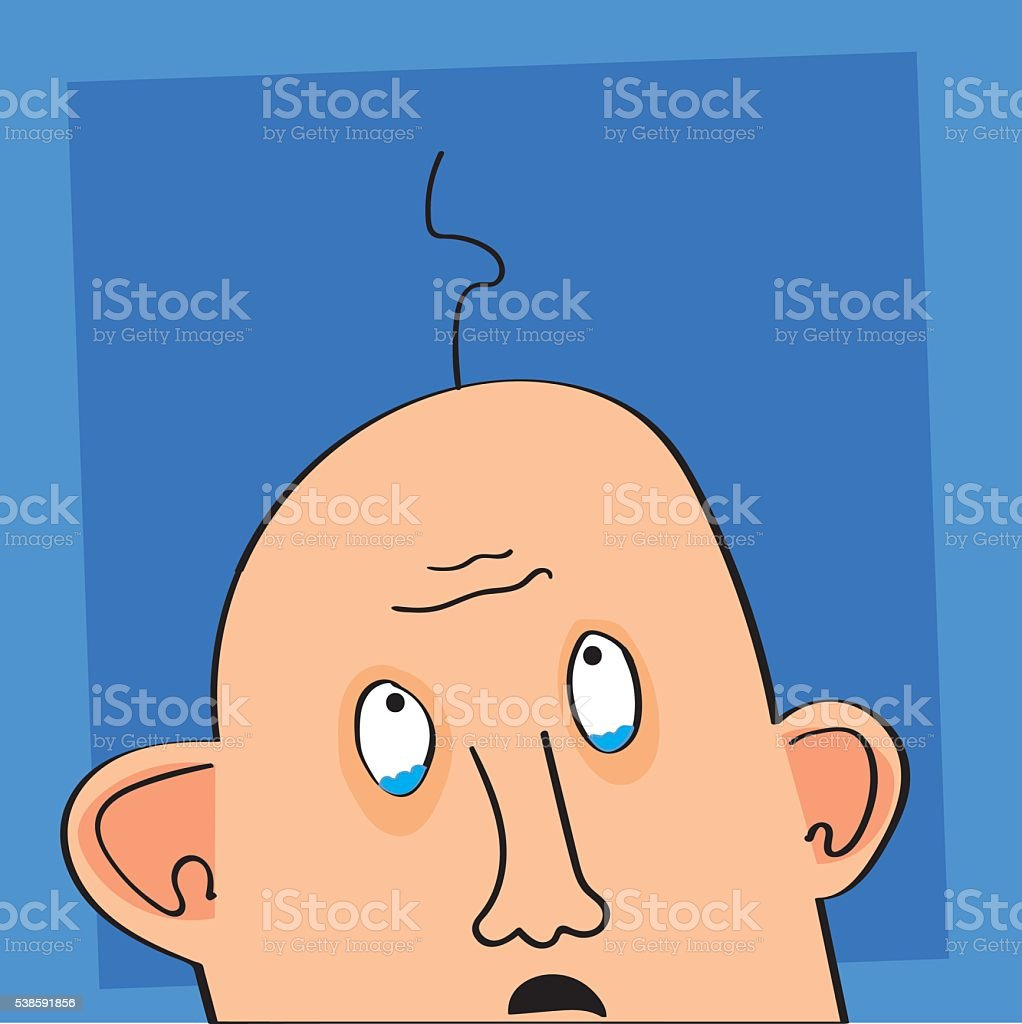 Bald Man Crying vector art illustration
