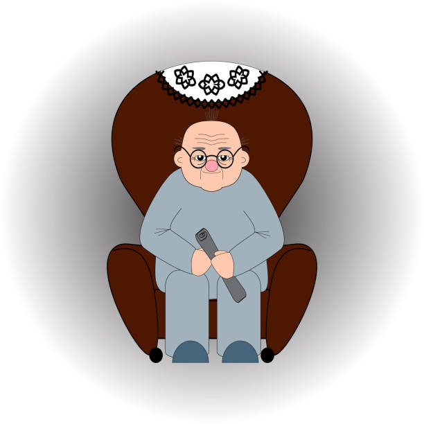 a bald old man in glasses sits in an armchair with a newspaper in his hands - old man sitting chair clip art stock illustrations, clip art, cartoons, & icons