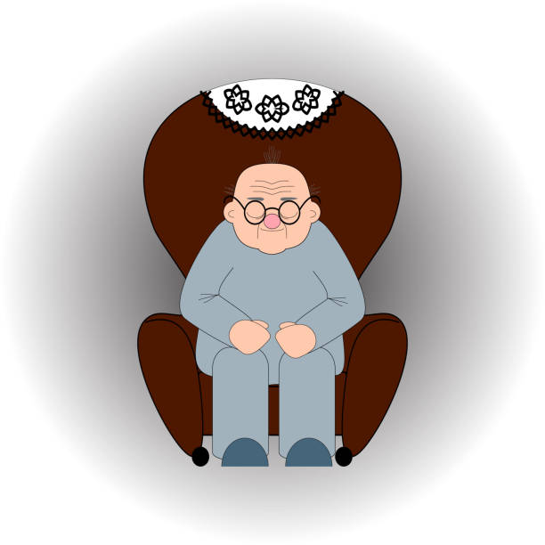 bald old man in glasses sleeps in an armchair - old man sitting chair clip art stock illustrations, clip art, cartoons, & icons