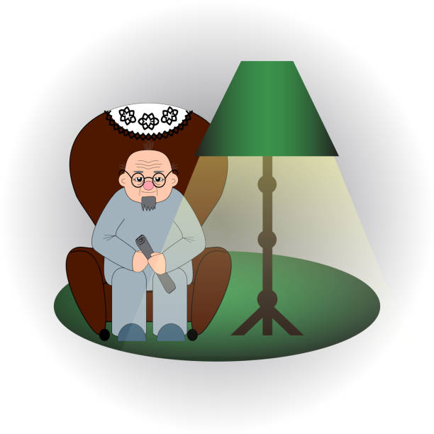 bald old man with glasses and  beard sits in an armchair with a newspaper in the hands under the light of a floor lamp - old man sitting chair clip art stock illustrations, clip art, cartoons, & icons