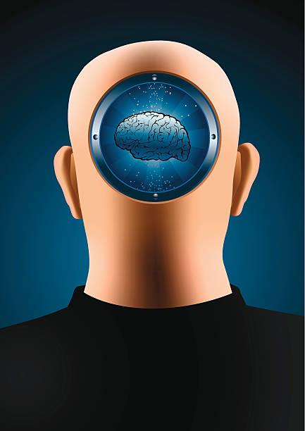 Bald with brains vector art illustration