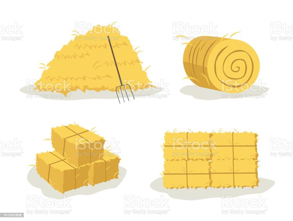 bale of hay vector art illustration