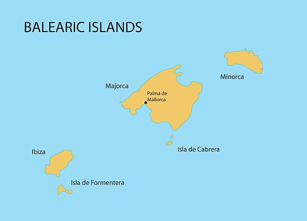ilustrações de stock, clip art, desenhos animados e ícones de ilhas baleares mapa - ibiza