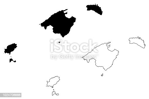 istock Balearic Islands map vector 1024708888