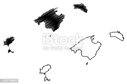istock Balearic Islands map vector 1032708802