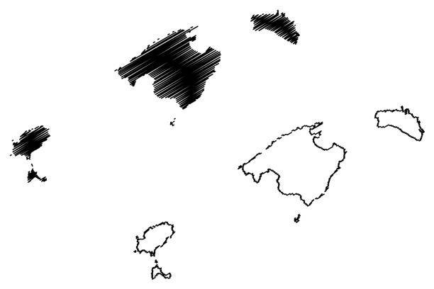 ilustrações de stock, clip art, desenhos animados e ícones de balearic islands map vector - ibiza