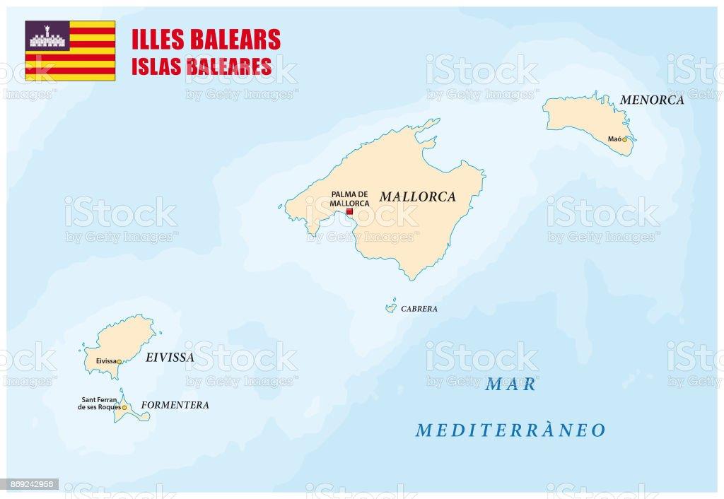 Islas Baleares Mapa Fisico.Ilustracion De Mapa De Las Islas Baleares Con Bandera Y Mas