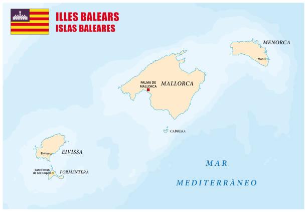 ilustrações de stock, clip art, desenhos animados e ícones de balearic islands map with flag - ibiza