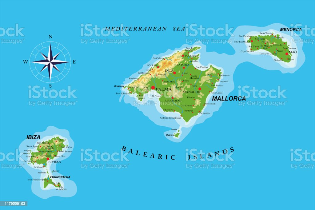 Picture of: Balearic Islands Physical Map Stock Illustration Download Image Now Istock