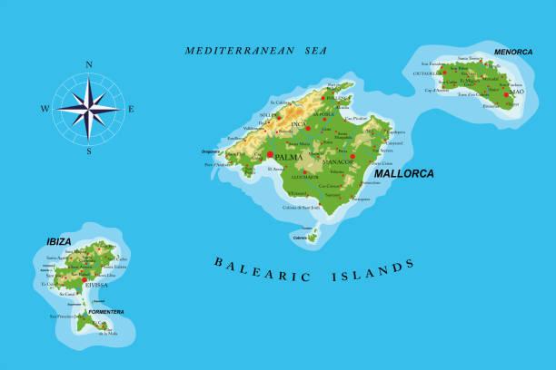 ilustrações de stock, clip art, desenhos animados e ícones de balearic islands physical map - ibiza