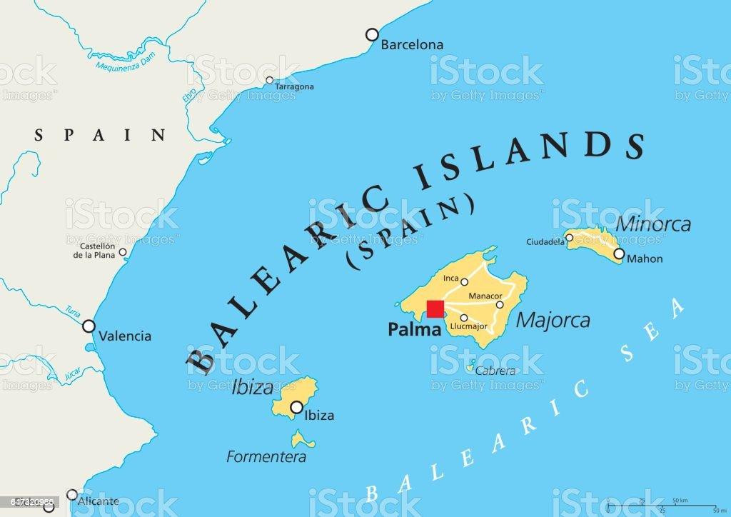 Islas Baleares Mapa Fisico.Ilustracion De Mapa Politico De Las Islas Baleares Y Mas