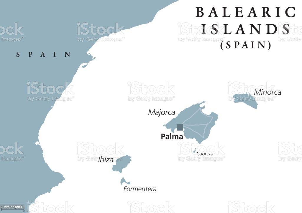 Islas Baleares Mapa Fisico.Ilustracion De Mapa Politico Islas Baleares Y Mas Vectores