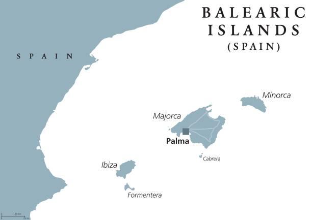 ilustrações de stock, clip art, desenhos animados e ícones de balearic islands political map - ibiza