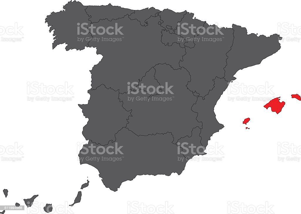 Map Of Spain And Surrounding Islands.Balearic Islands Red Map On Gray Spain Map Vector Stock Vector Art