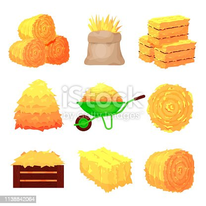 Bales of hay set, yellow agricultural stacks. Rural farming image. Vector flat style cartoon illustration isolated on white background