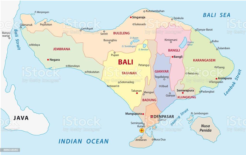 Bali Karte Asien.Bali Administrative Und Politische Karte Mit Dichtung Stock Vektor